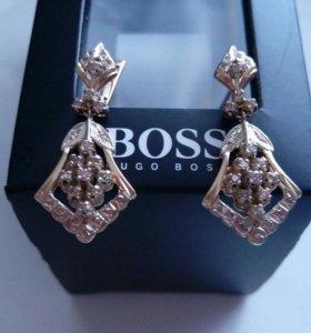 Золотые Серьги с Бриллиантами 583пр.со звездой