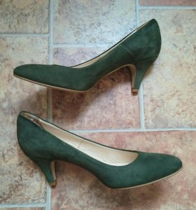 Туфли зелёные нат.замша р.38