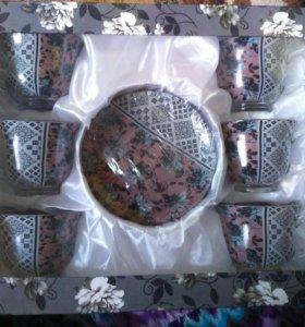 Набор чайный сервиз новый 6 пар стекло