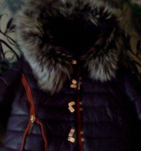 Пальто зимние натуральный мех, увелич. По.размерам