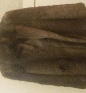 Шуба, натуральный мех, из Ондатры