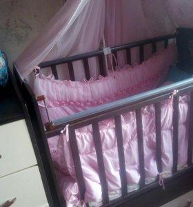 Кроватка-трансформер+матрац+наматрасник