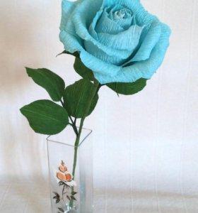 Цветы с конфетой - голубая роза с Рафаэлло