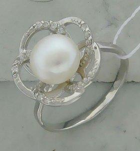 Серебряное кольцо с жемчугом, новое, с этикеткой