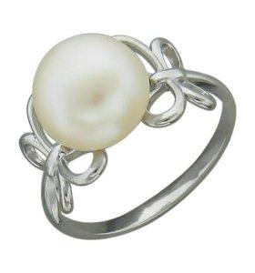 Кольцо серебряное с жемчугом, новое с этикеткой