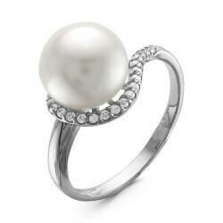 Кольцо серебряное с жемчугом, новое, с этикеткой