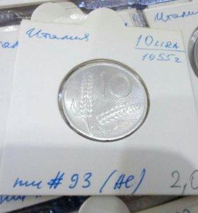 Монета 10 lir 1955 Италия
