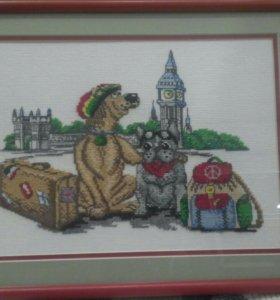 Вышивка ~40x60 собаки-растаманы (хиппи) в Лондоне