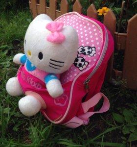 Детский рюкзак с игрушкой Hello kitty