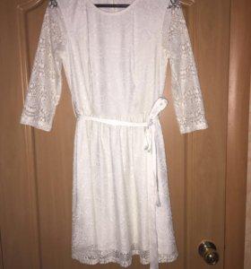 Платье кружевное белое ADL