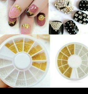 Золотые и серебряные бульонки для ногтей