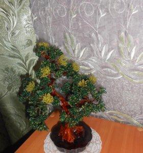дерево из бисера и цветочные композиции