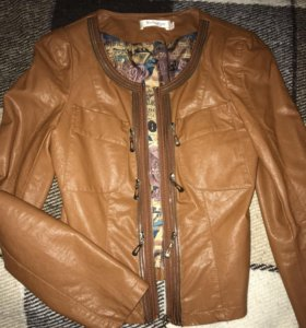 Курточка из эко-кожи коричневая