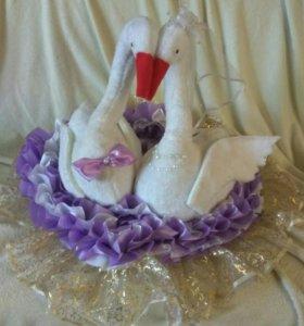 """Свадебное украшение на машину """"Лебеди"""""""