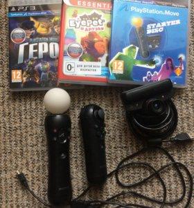 Move к PS3, камера, установочный диск и две игры.