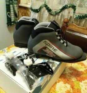 Ботинки лыжные+крепления