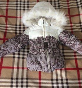 Зимняя куртка на девочку 1-1,5 года