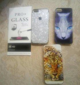 Защитное стекло и чехлы на iPhone 5