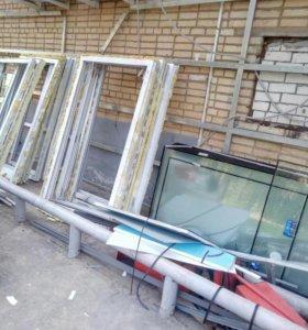 Б、у окна пластиковые в хорошем состоянии