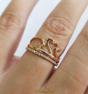"""Золотое кольцо """"Сердце"""" с фианитами."""