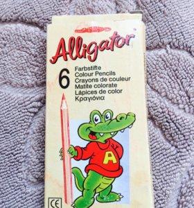 Мини-карандаши Alligator для рисования 6 цветов