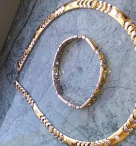 Колье и браслет под золото