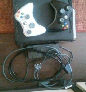 Xbox 360, все провода и джостики в комплекте и игр