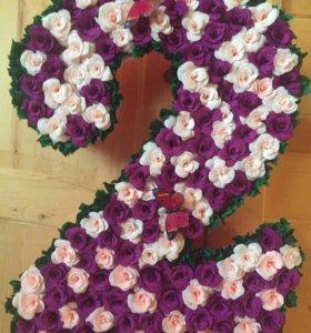 Цифра 2 для девочки на день рождения