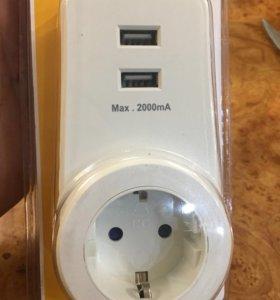 Адаптер питания. С 2 USB
