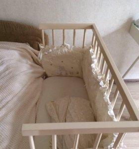 Кровать-трансформер с матрацем, текстилем,одеялом