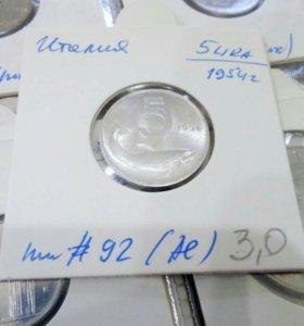 Монета 5 lir 1954 Италия