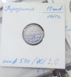 Монета 10 centavos 1971 Португалич