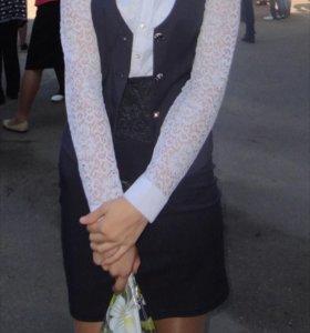 Школьная форма(жилетка и юбка)
