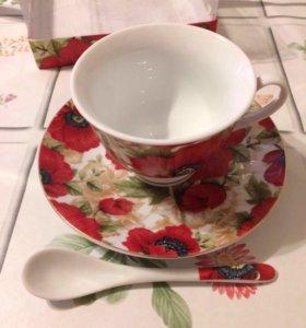 Чайный набор (чашка, блюдце, ложка)