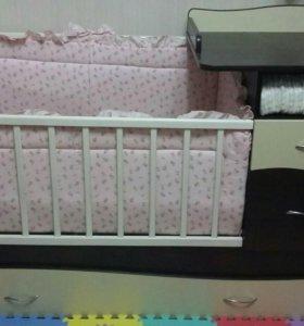 Кровать с пеленальным комодом