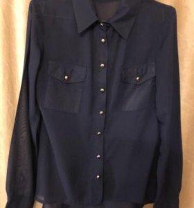 Блузка темно-синяя