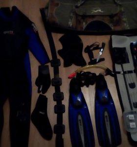 Гидрокостюм+комплект для подводной рыбалки