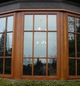 Дерпвянные окна и двери.