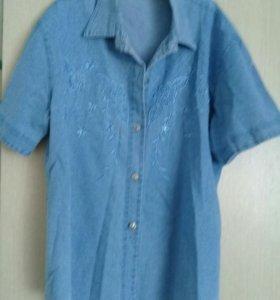 Джинсовая рубашка жен.54-56р