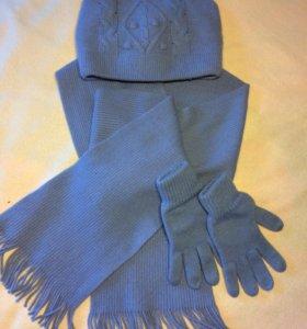 Зимний комплект шапка + шарф + перчатки