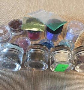 Пигменты, блёстки для дизайна ногтей