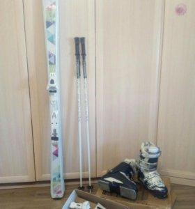 Женские горные лыжи, ботинки,горнолыжный комплект