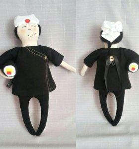 Куклы ручной работы.Весёлый повар-сушист🍣🍣🍣