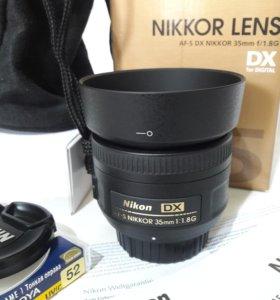 Объектив Nikon 35mm 1.8G + светофильтр hoya