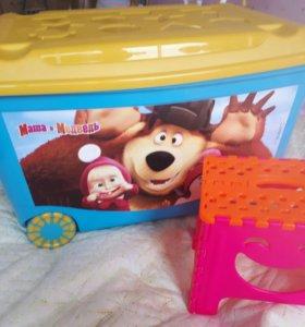 Погремушки, ящик для игрушек, складной стульчик