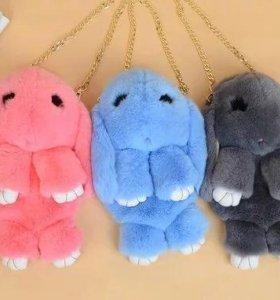 Меховой сумка рюкзак кролик