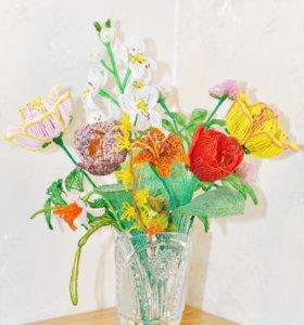 Цветы из бисера Тюльпаны