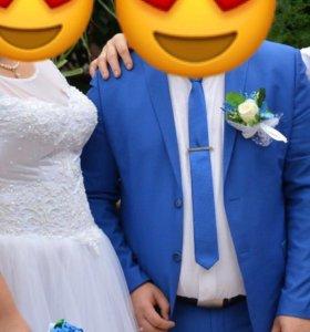Свадебное платье большого размера одето один раз!