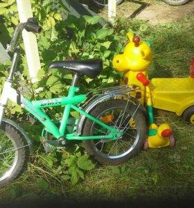 Велосипед +каталка жираф и игрушка