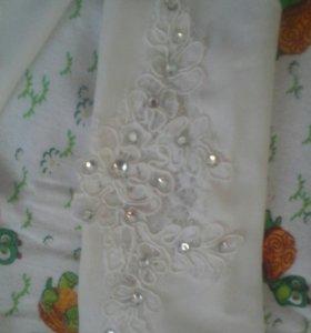 Свадебные перчатки цвет шампань, на узкую ручку